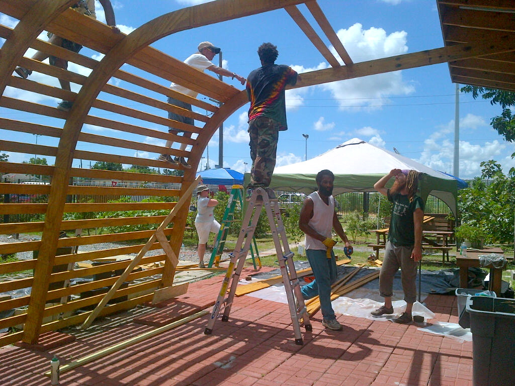 Nola s first solar powered living shade structure for Home shade structures